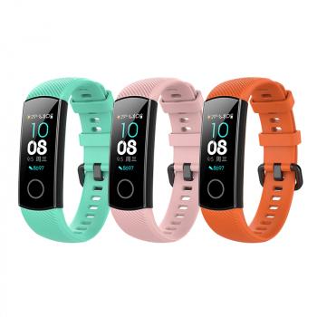 Set 3 curele sport pentru bratara fitness Huawei Honor Band 4 / 5 din silicon roz turcoaz portocaliu