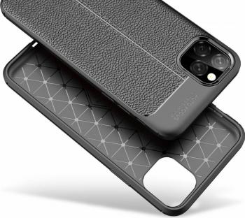 Husa pentru Apple iPhone 11 PRO Perfect Fit Black cu insertii de piele Huse Telefoane