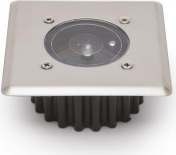 Lampa solara incastrabila IP65 1 W rezistenta la greutate senzor de lumina comutator ON/OFF diametru 8.5 cm patrat crom Corpuri de iluminat
