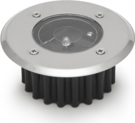 Lampa solara incastrabila IP65 1 W rezistenta la greutate senzor de lumina comutator ON/OFF diametru 8.5 cm rotund crom Corpuri de iluminat