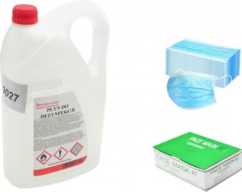 Set Dezinfectant pentru maini 5L 70 alcool + Masca chirurgicala de protectie set 50 bucati 3 straturi 3 pliuri Articole curatenie si igiena