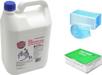 Set Gel antibacterian pentru maini 5 L+ Masca chirurgicala de protectie set 50 bucati 3 straturi 3 pliuri Articole curatenie si igiena