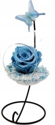Trandafir Criogenat Wide Flowers albastru deschis pe pat de pietricele in bol de sticla cu fluture pe picior metalic