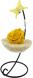 Trandafir Criogenat Wide Flowers galben pe pat de pietricele in bol de sticla cu fluture pe picior metalic