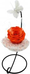Trandafir Criogenat Wide Flowers portocaliu pe pat de pietricele in bol de sticla cu fluture pe picior metalic
