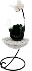 Trandafir Criogenat Wide Flowers verde inchis pe pat de pietricele in bol de sticla cu fluture pe picior metalic