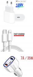 Set Incarcator Fast Charge Foxconn 18W pentru iPhone 11pro 11 Pro Max si cablu de date 1m Type-C-Lightning + Adaptpr auto fast 7A Incarcatoare Telefoane