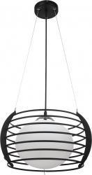 Pendul Turing 1x E27 X 60W metal negru abajur sticla alb 38546 Corpuri de iluminat