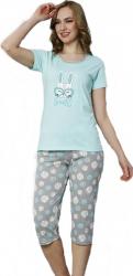 Pijamale dama maneca scurta si pantaloni 3/4 cu imprimeu Iepuras smile