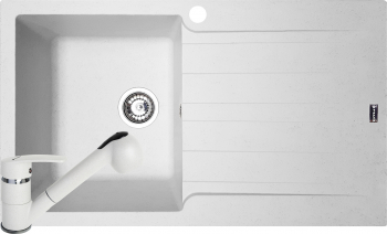 Pachet Pyramis SIERRA Durothek + baterie extractabila 860x500mm adancime 210mm cuva stanga soft compozit alb