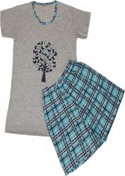 Pijamale dama maneca scurta si pantaloni scurti imprimeu fluturasi turcoaz
