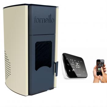 Termosemineu peleti Fornello Royal 25 kw WI FI complet echipat pentru incalzire pompa vas expansiune automatizare telecomanda buncar Termoseminee