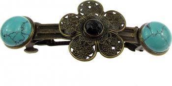Clama de par bronz model floare cu turcoaz