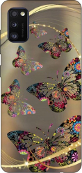 Husa Silicon Soft Upzz Print Samsung Galaxy Galaxy A41 Model Golen Butterfly Huse Telefoane