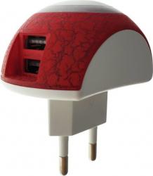 Lampa de veghe cu incarcare 2 x USB 2.1A si intrerupator lumina F1008-WR-DC alba cu rosu Corpuri de iluminat