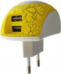 Lampa de veghe cu incarcare 2 x USB 2.1A si intrerupator lumina F1008-WY-DC alba cu galben Corpuri de iluminat