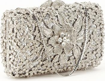 Geanta clutch de lux argintie Angelina