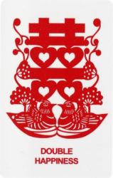 Card dubla fericire amuleta cu simbolul dublei fericiri rate mandarine si flori de piersic remediu Feng Shui din PVC auriu sidefat 80 mm