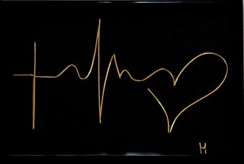 Tablou Credinta-Speranta-Iubire sculptura in fir continuu non-tarnish auriu de 1mm rama neagra 10x15 cm fundal negru Tablouri