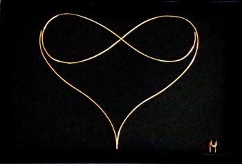 Tablou Endless Love sculptura in fir continuu non-tarnish auriu de 1 mm rama aurie 15x10 cm fundal negru Tablouri