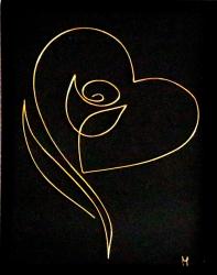 Tablou Flower Love sculptura in fir continuu non-tarnish auriu de 1 mm rama aurie 15x20 cm fundal negru Tablouri
