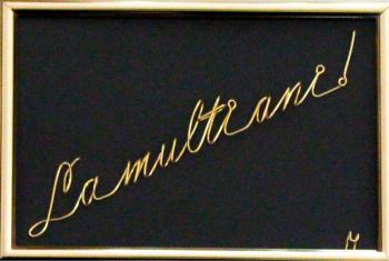 Tablou La multi ani sculptura in fir continuu non-tarnish auriu de 1 mm rama aurie 15x10 cm fundal negru Tablouri