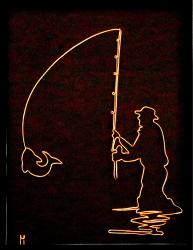 Tablou Pescar sculptura in fir continuu non-tarnish auriu de 1 mm rama neagra 18x24 cm fundal negru Tablouri