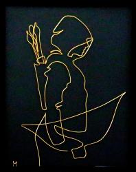Tablou Sagetator dupa inkvond sculptura in fir continuu non-tarnish auriu de 1 mm rama neagra 18x24 cm fundal negru Tablouri