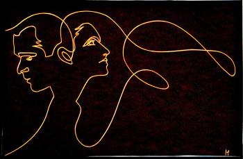 Tablou Thinking of You dupa Conversation by Quibe sculptura in fir continuu non-tarnish auriu de 1 mm rama neagra 30 x 20 cm fundal Tablouri