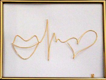 Tablou Zambeste-Traieste-Iubeste sculptura in fir continuu non-tarnish auriu de 1mm rama aurie 20x15 cm fundal alb Tablouri