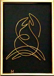 Tablou Zodia Rac sculptura in fir continuu non-tarnish auriu de 1 mm rama aurie 10x15 cm fundal negru Tablouri