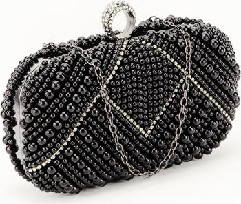 Geanta clutch neagru cu perle Luiza