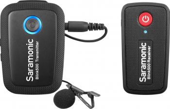 Mini microfon profesional 2.4G wireless Saramonic Blink pentru smartphone si aparate profesionale cu 1 transmitator Gimbal, Selfie Stick si lentile telefon