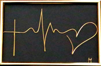 Tablou Credinta Speranta Iubire sculptura in fir continuu non-tarnish auriu de 1 mm rama aurie 15x10 cm fundal negru Tablouri