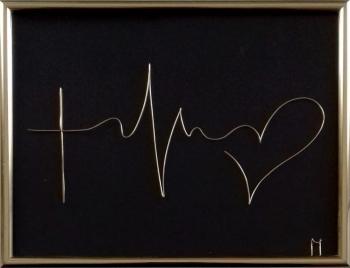 Tablou Credinta-Speranta-Iubire sculptura in fir continuu non-tarnish auriu de 1 mm rama aurie 20x15 cm fundal negru Tablouri