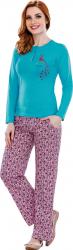 Pijama femei maneca lunga 3070 Turquise L