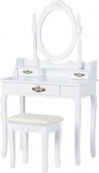 Set Masa Toaleta pentru Machiaj cu Oglinda Ovala 3 Sertare + Scaun Culoare Alb
