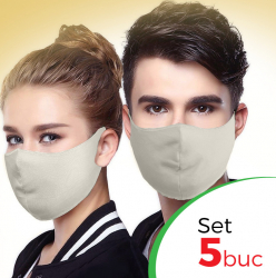 Set 5 buc Masca protectie pentru fata Fashion Culoare Crem Masti chirurgicale si reutilizabile