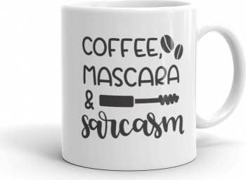 Cana personalizata Coffee Mascara and Sarcasm Cadouri