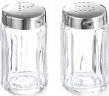 Set 2 recipiente din sticla pentru sare si piper cu suport din inox Studio Casa Articole pentru servit