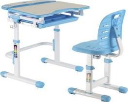 Set birou si scaun copii ergonomic reglabil in inaltime si spatar reglabil in adancime ErgoK RICO Albastru