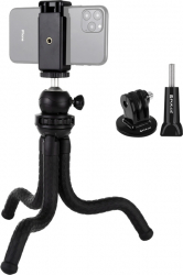Trepied flexibil Octopus cu clema telefon mobil cap rotativ si adaptopare pentru DSLR si camera de aciune Gimbal, Selfie Stick si lentile telefon