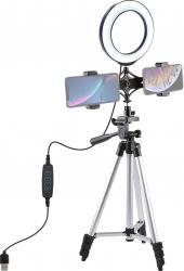 Trepied pentru telefoane mobile extensibil 127 cm cu inel de iluminare LED montaj universal Gimbal, Selfie Stick si lentile telefon
