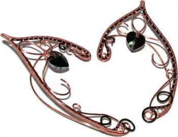 Cercei Urechi de elf Elven Rose Design Heart of the Forest handmade cupru cristale Swarovski Cercei