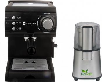 Pachet Espressor cu pompa Aroma SC422 Black Studio Casa 15 bari 1.5l 1050w Negru+ Rasnita Del Caffe Grind Master 220W 60g Expresoare espressoare cafea