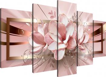Tablou modular din cinci elemente - Flori roz Tablouri