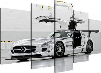 Tablou modular din cinci elemente - Masina sport alba Tablouri