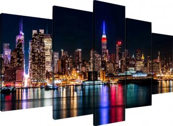 Tablou modular din cinci elemente - Oras in noapte Tablouri