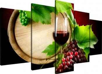 Tablou modular din cinci elemente - Pahar de vin Tablouri