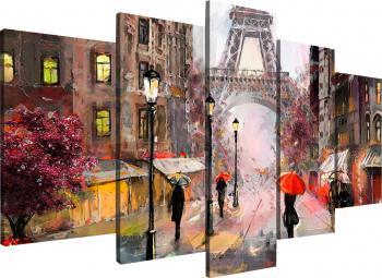 Tablou modular din cinci elemente - Parisul intr-o zi ploioasa Tablouri